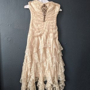 Champagne Strapless Jeweled Lace Ruffle Gown Dress
